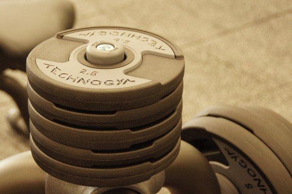Gewichte im Freihantelbereich des SportQuadrats in Bietigheim