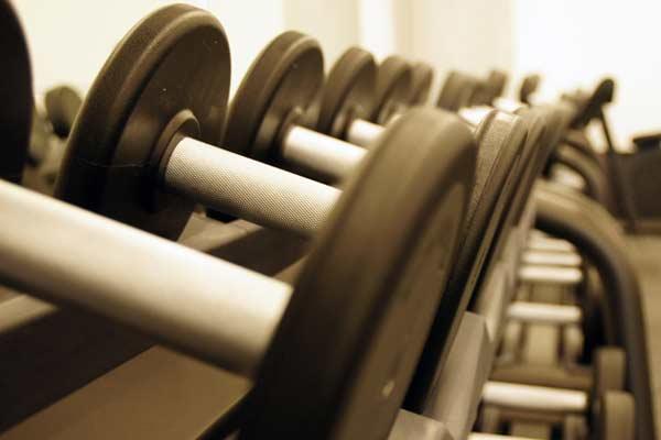 Fitnesstraining im Studio vom Sportverein mit freien Gewichten und Hanteln von Technogym